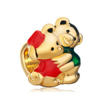 European Beads - lovely twins teddy bear heart forever loves fit all brands gold plated beads charms bracelets Image.