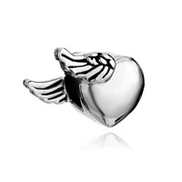 European Beads - heart with one side wings love silver plated beads charms bracelets Image.