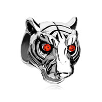 European Beads - garnet red rhinestone crystal eyes tiger head animal silver plated beads charms bracelets Image.