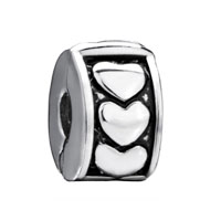 European Beads - silver heart circle clip lock stopper beads charms bracelets Image.