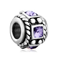 European Beads - amethyst purple crystal diamond accent wheel spacer silver plated beads charms bracelets Image.