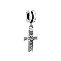 European Beads - cross with clear april birthstone all brands dangle european beads Image.