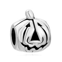 European Beads - halloween pumpkin face silver plated beads charms bracelets Image.
