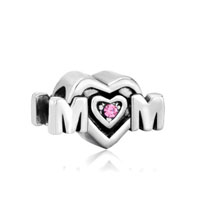 European Beads - pink swarovski crystal mom heart fit all brands &  gift for mother silver plated beads charms bracelets Image.