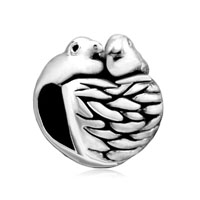 European Beads - two birds and nest silver plated beads charms bracelets Image.