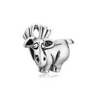 - silver tone cute david's deer european beads Image.
