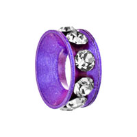 - purple ring with april birthstone clear crystal all brands Image.
