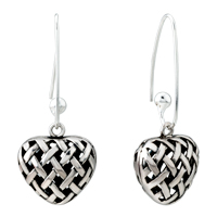 - sterling silver heart shape with pattern dangle earrings Image.