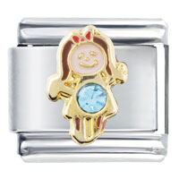 Italian Charms - march birthstone cute girl italian charm Image.
