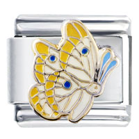 Italian Charms - yellow and pearl wing butterfly italian charm Image.
