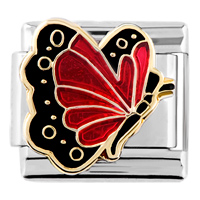 Italian Charms - deep red butterfly italian charm Image.
