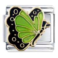 Italian Charms - pale green butterfly italian charm Image.