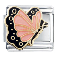 Italian Charms - pink butterfly and black Image.