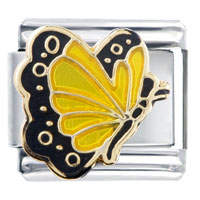 Italian Charms - yellow butterfly and black Image.