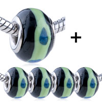 - 5 pcs light green circle blue dots murano glass combination Image.
