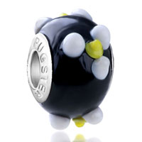 European Beads - white and yellow texture flower emily fit murano glass beads charms bracelets all brands Image.