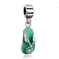 European Beads - aqua beach sandal dangle european beads all brands charms bracelets Image.