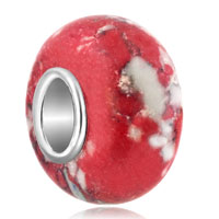 - white with red turquoise european beads Image.