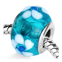 - pale blue with white flower murano glass all brands Image.