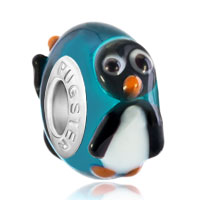 - aquamarine blue ball cute penguin murano glass bead charm all brand bracelet Image.