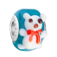 European Beads - sapphire blue ball cute white bear all brand murano glass beads charms bracelets Image.