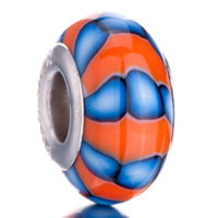 - orange and pale blue stripe polymer clay Image.