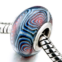 European Beads - blue white and red whirlpool polymer clay beads charms bracelets Image.