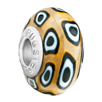 European Beads - yellow white and black rounds against brown polymer clay beads charms bracelets Image.