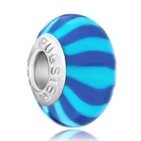 European Beads - bule and pale blue stripes polymer clay beads charms bracelets Image.