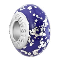 European Beads - silver spots against purple polymer clay beads charms bracelets Image.