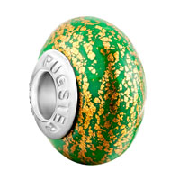 European Beads - may green golden spots dotted polymer clay fit all brands &  beads charms bracelets Image.