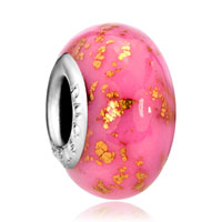 European Beads - october pink golden spots dotted polymer clay murano glass beads charms bracelets Image.