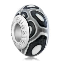 European Beads - black and white round dotted against gray polymer clay beads charms bracelets Image.