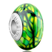 European Beads - green stipes yellow spots dotted polymer clay beads charms bracelets Image.
