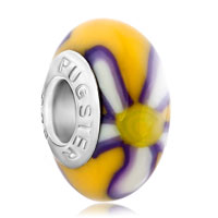 European Beads - purple and yellow flower polymer clay beads charms bracelets Image.