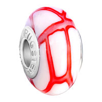 Murano Glass Jewelry - white red stripes fit all brands murano glass beads charms bracelets Image.