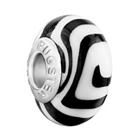 European Beads - black white round polymer clay beads charms bracelets Image.
