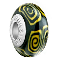 European Beads - yellow and black whirlpool polymer clay beads charms bracelets Image.