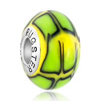 Sterling Silver Jewelry - black lines green and yellow 925  sterling silver murano glass beads charms bracelets fit all brands Image.