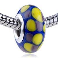 European Beads - yellow and purple dots slim fit all brands murano glass beads charms bracelets Image.