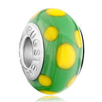 European Beads - egg yellow dotted green slim fit all brands murano glass beads charms bracelets Image.