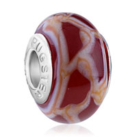 European Beads - white and orange gridlines fit all brands murano glass beads charms bracelets Image.
