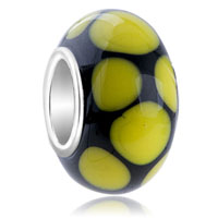 European Beads - yellow dots slim murano glass beads charms bracelets Image.