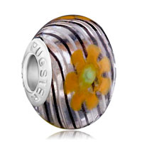 European Beads - clear with black fringe and yellow flower all brands murano glass beads charms bracelets Image.