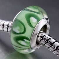 - green leaf pattern european beads Image.