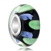 European Beads - blue and green zigzag translucent murano glass beads charms bracelets Image.