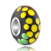 European Beads - green yellow orange spots spiral dotted murano glass beads charms bracelets Image.