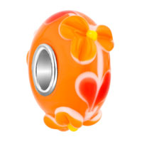 European Beads - orange texture floret slim murano glass beads charms bracelets Image.