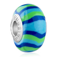 - blue and green stripes polymer clay bead Image.