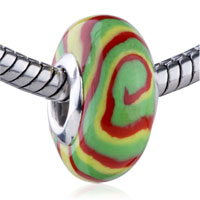 European Beads - green yellow and red swirl polymer clay beads charms bracelets Image.